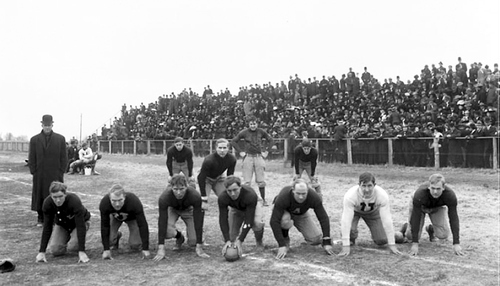University of Utah football team poses for photo during a game in 1909. Courtesy Utah Historical Society