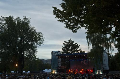 Chris Detrick  |  The Salt Lake Tribune  Raphael Saadiq performs during the Twilight Concert Series at Pioneer Park Thursday July 12, 2012.