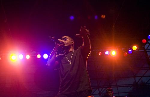 Kim Raff  |  The Salt Lake Tribune  Nas performs during the Twilight Concert Series at Pioneer Park in Salt Lake City, Utah on July 19, 2012.