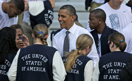 President Barack Obama welcomes members of the 2012 U.S. Olympic and Paralympic teams, Friday, Sept. 14, 2012, on the South Lawn of the White House in Washington. (AP Photo/Pablo Martinez Monsivais)