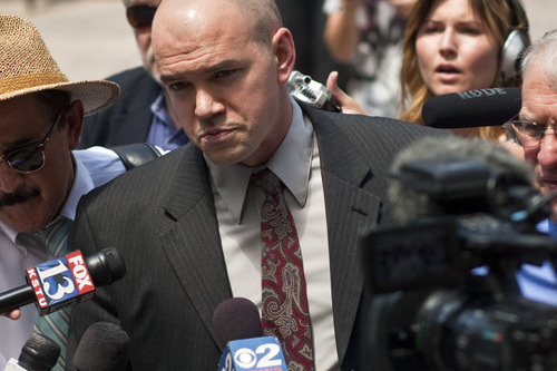 Tribune file photo Tim DeChristopher arrives at the Federal Courthouse for his sentencing Tuesday July 26, 2011. Andrea Bowers explores political statements in art with her