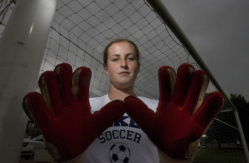 Paul Fraughton | Salt Lake Tribune All-state goal keeper for the Bonneville Lakers, Megan Fillpot.   Monday, September 10, 2012