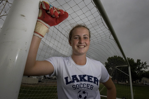 Paul Fraughton | Salt Lake Tribune All-state goal keeper for the Bonneville Lakers, Megan Fillpot.