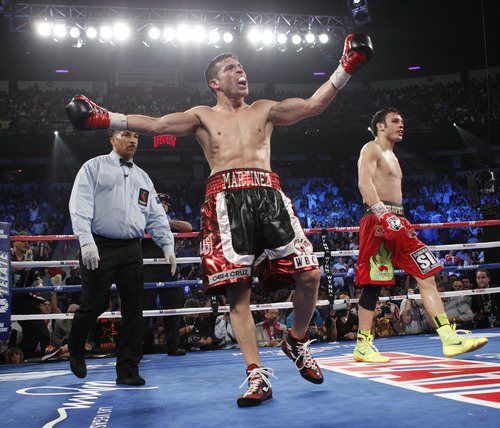 Sergio Martinez celebrates near the end of his fight with Julio Cesar Chavez Jr. in their WBC Middleweight Title bout at the Thomas & Mack Center in Las Vegas Saturday, Sept. 15, 2012. (AP Photo/Las Vegas Review-Journal, John Locher)