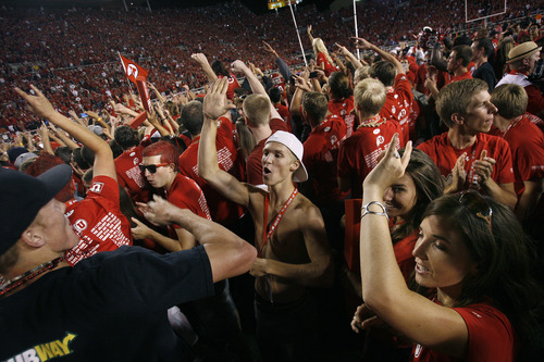Scott Sommerdorf  |  The Salt Lake Tribune              Utah fans stormed the field three separete times after it seemed Utah had won. Utah defeated BYU 24-21, Saturday, Sept. 15, 2012. This was the second time.