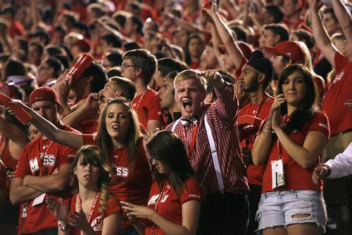 Scott Sommerdorf  |  The Salt Lake Tribune              Utah fans during first-half play against BYU on Sept. 15, 2012.