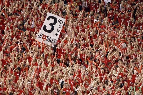Chris Detrick  |  The Salt Lake Tribune Utah fans cheer during the first half of against BYU at Rice-Eccles Stadium Saturday September 15, 2012.