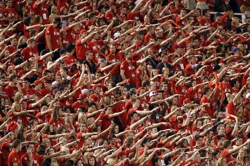 Chris Detrick  |  The Salt Lake Tribune Utah fans cheer during the first half of against BYU at Rice-Eccles Stadium Saturday September 15, 2012.