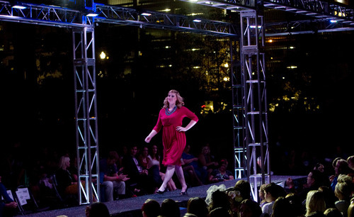 Kim Raff | The Salt Lake Tribune Models walk down the runway showing off the latest line from Misc. during Fashion Night Out at the Gallivan Center in Salt Lake City on Sept. 14, 2012.