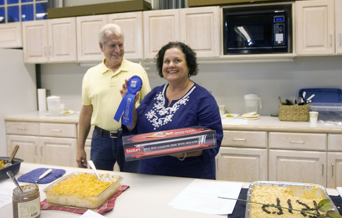 Kim Raff | The Salt Lake Tribune Laurie Willberg wins first place in the Funeral Potato Contest at the Utah State Fair in Salt Lake City earlier this month.