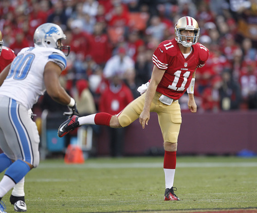 San Francisco 49ers quarterback Alex Smith during the second quarter of an NFL football game against the Detroit Lions in San Francisco, Sunday, Sept. 16, 2012. (AP Photo/Tony Avelar)