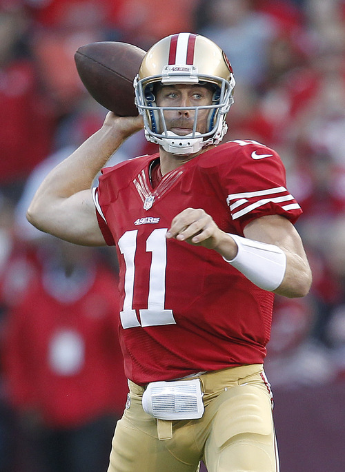 San Francisco 49ers quarterback Alex Smith throws during the second quarter of an NFL football game against the Detroit Lions in San Francisco, Sunday, Sept. 16, 2012. (AP Photo/Tony Avelar)