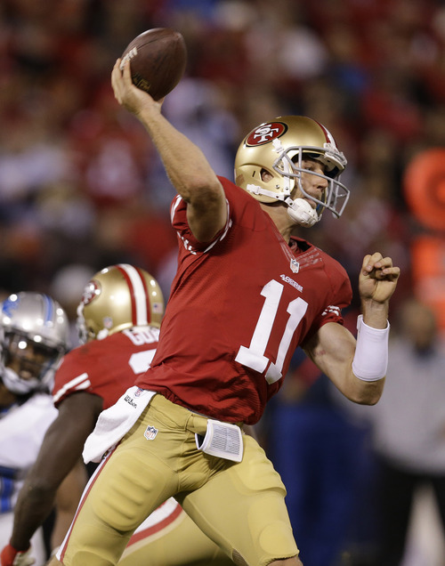 San Francisco 49ers quarterback Alex Smith during the fourth quarter of an NFL football game against the Detroit Lions in San Francisco, Sunday, Sept. 16, 2012. (AP Photo/Marcio Jose Sanchez)