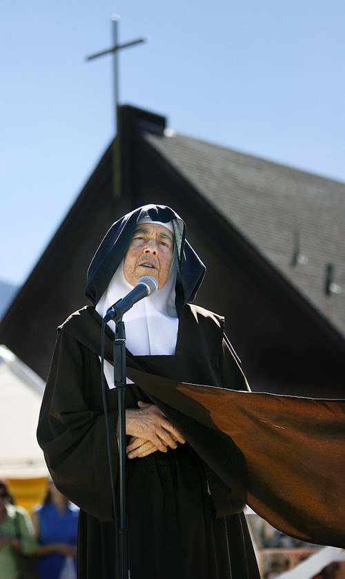 Scott Sommerdorf  l  The Salt Lake Tribune Mother Maureen of the Trinity addresses the audience at the Carmelite Fair at the Carmelite Monastery in Holladay, Sunday, September 19, 2010.
