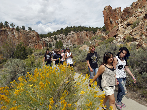 Al Hartmann  |  The Salt Lake Tribune Granger High art students take a hike to see and sketch petroglyphs at the Fremont Indian State Park Museum. Students took a field trip with the Center for Documentary Expression and Art to look at Native American rock art and artifacts at the park earlier this month. They will use that experience to inspire them to create their own Native American mural that will be housed in their new school building.