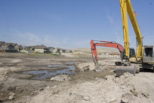 Paul Fraughton   The Salt Lake Tribune A retention pond  near Ring Road in Saratoga Springs on Friday, Sept. 14, 2012.