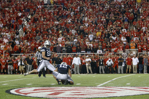 Chris Detrick  |  The Salt Lake Tribune BYU punter Riley Stephenson can't make a field goal to tie the game during the second half of the game at Rice-Eccles Stadium on Saturday, Sept. 15, 2012.  Utah won the game 24-21.