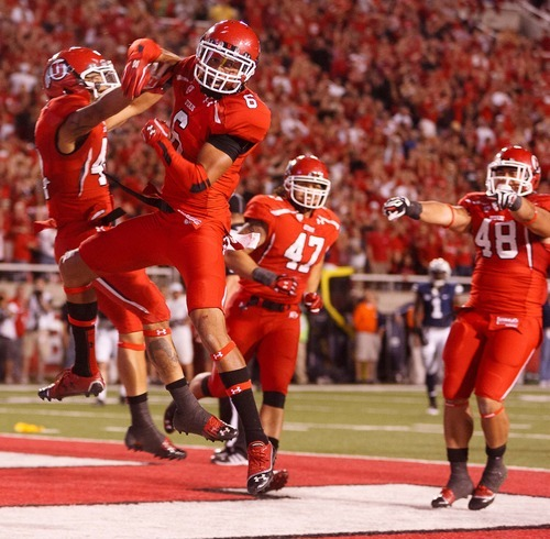 Trent Nelson  |  The Salt Lake Tribune Utah wide receiver Dres Anderson celebrates his third-quarter touchdown against BYU  in Salt Lake City on Saturday, Sept. 15, 2012.