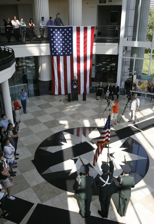 Francisco Kjolseth  |  The Salt Lake Tribune Constitution Day is celebrated at the Matheson Courthouse Rotunda on Monday, September 17, 2012, to honor the day 39 of the 55 founding fathers signed the Constitution of the United States marking the 225th anniversary.