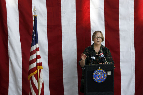 Francisco Kjolseth  |  The Salt Lake Tribune Justice Christine Durham takes to the podium for Constitution Day celebrations at the Matheson Courthouse Rotunda on Monday, September 17, 2012, to honor the day 39 of the 55 founding fathers signed the Constitution of the United States marking the 225th anniversary.