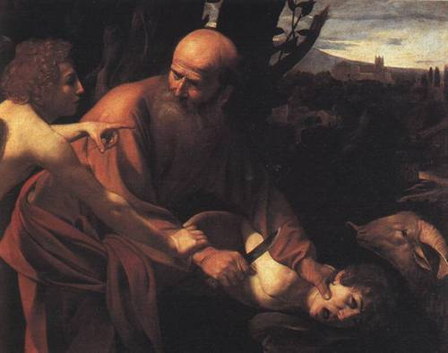 The Sacrifice of Isaac by Caravaggio (1590-1610; Oil on canvas; Uffizi) Courtesy Wikimedia Commons. The story of Abraham nearly sacrificing his son Isaac in the Hebrew Bible, known as the Torah, is read each Rosh Hashana.
