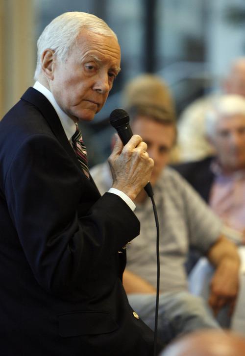 Francisco Kjolseth  |  Tribune file photo Sen. Orrin Hatch appears at a 2012 event at the Deseret Power building in South Jordan.