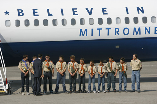 Francisco Kjolseth  |  The Salt Lake Tribune Republican presidential candidate Mitt Romney meets with Salt Lake Boy Scout troop 315 after arriving in Utah for a pair of fundraisers on Tuesday, September 17, 2012, in what is expected to be his last stop in the state before the November election.