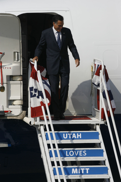 Francisco Kjolseth  |  The Salt Lake Tribune Republican presidential candidate Mitt Romney arrives in Utah for a pair of fundraisers on Tuesday, September 18, 2012, in what is expected to be his last stop in the state before the November election.