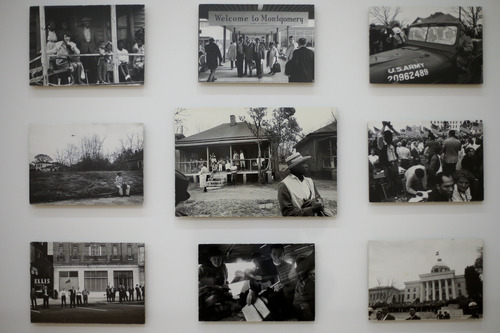 Photograph of the Selma-to-Montgomery Freedom March 1965 taken by late actor, director and photographer Dennis Hopper displayed at the exhibition 'Dennis Hopper - The Lost Album' at the Martin-Gropius-Bau museum in Berlin, Wednesday, Sept. 19, 2012. The exhibition shows a collection of 400 prints edited by Hopper, for the first time in Europe, and will be displayed from Sept. 20, 2012 until Dec. 17. 2012. (AP Photo/Markus Schreiber)
