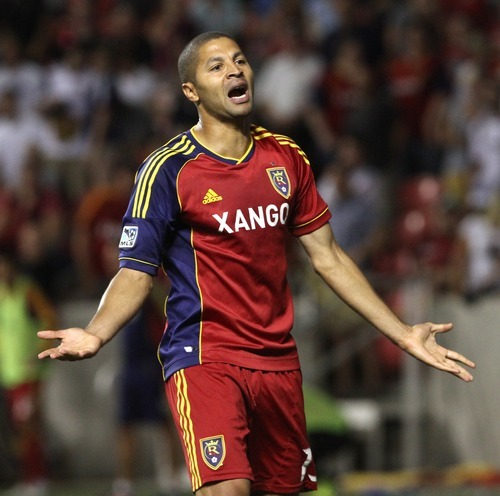 Rick Egan  | The Salt Lake Tribune   Real Salt Lake forward Alvaro Saborio (15) argues a call with the official during a match against the Colorado Rapids, Saturday, July 21, 2012.