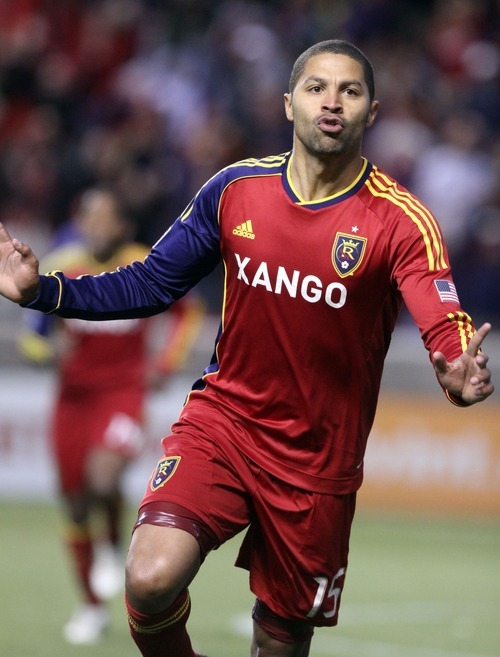 Rick Egan  | The Salt Lake Tribune   Real Salt Lake's Real Salt Lake forward Alvaro Saborio (15) celebrates after scoring a goal, in MLS soccer action, Real Salt Lake vs FC Dallas, in Sandy, Saturday, May 26, 2012.