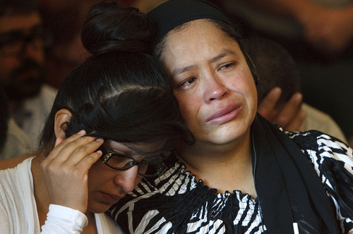 Leah Hogsten  |  The Salt Lake Tribune Patricia Salceda Garcia (right) and her daughter weep in court as Ricky Angilau expresses his remorse for killing her son Esteban Saidi. Ricky Angilau, who was 16-years-old when he fired into a crowd during a fight, killing an onlooker, was sentenced to up to 5 years in prison before 3rd District Judge William Barrett on Tuesday, September 18, 2012. Angilau was charged as a juvenile for shooting and killing a Kearns High classmate, 16-year-old Esteban Saidi, on Jan. 21, 2009. who was