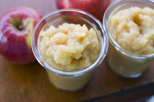 In this image taken on August 27, 2012, a recipe for spiked side dish applesauce is shown in Concord, N.H. (AP Photo/Matthew Mead)