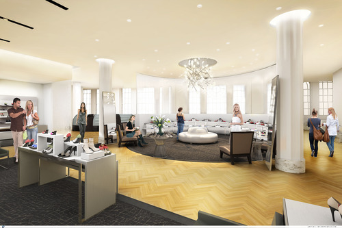 In this undated artist rendering by studiorendering.com and provided by Macy's shows the expected design for  the women's shoe department once renovations are completed. Macy's New York flagship store is being transformed from old-fashioned, warm and fuzzy to a sleek, white 21st century style. The transformation will cost $400 million and is expected to take four years. (AP Photo/Macy's)