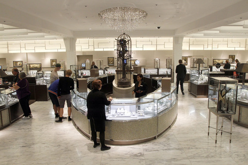 This Tuesday, Sept. 18, 2012 photo shows the newly-renovated fine jewelry department at the Macy's flagship store in New York's Herald Square. A $400 million makeover is giving New York's iconic Macy's store a sleek, new 21st century style. (AP Photo/Mary Altaffer)