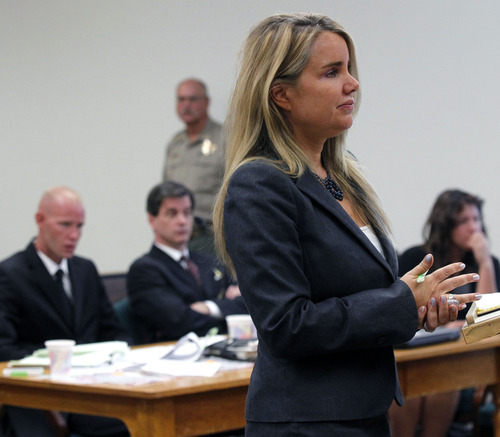 Al Hartmann  |  The Salt Lake Tribune Defense lawyer Susanne Gustin questions witness during Eric Charlton's preliminary hearing in Judge James Brady's Fourth District Court in Nephi Wednesday September 19.