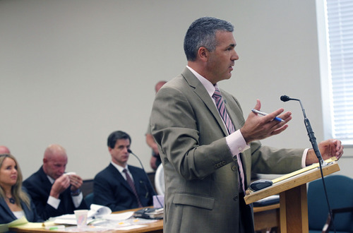 Al Hartmann  |  The Salt Lake Tribune Juab County Attorney Jared Eldridge questions witness during Eric Charlton's preliminary hearing in Judge James Brady's Fourth District Court in Nephi Wednesday September 19.