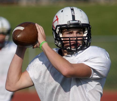 Steve Griffin   The Salt Lake Tribune Park City High School quarterback Ian Moritz eyes a receiver during practice at the school.