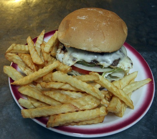 Rick Egan  | The Salt Lake Tribune   An eggburger with fries is one of the specialties at the Kitty Pappas Steak House on Highway 89 in Woods Cross.