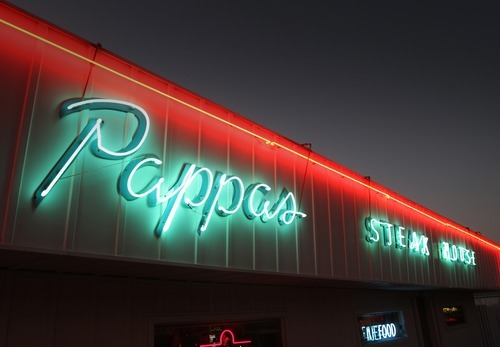 Rick Egan  | The Salt Lake Tribune   The Kitty Pappas Steak House is Woods Cross was established in 1947 back before Interstate 15 was built, when Slim Olson's 43-pump truck stop across Highway 89 was a big draw.
