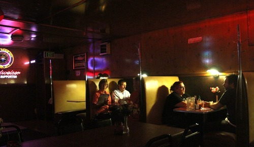 Rick Egan  | The Salt Lake Tribune   Customers sit in booths for dinner in the dinning room of the Kitty Pappas Steak House on highway 89 in Woods Cross, Tuesday, September 11, 2012. The Kitty Pappas Steak House will celebrate 65 years in business on Sept. 17.