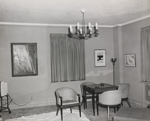 This Nov. 21, 1963 photo provided by the Amon Carter Museum of American Art Archives, shows the living area of Suite 850 at the Hotel Texas, in Fort Worth, Texas. An exhibit opening next year at the Dallas Museum of Art will feature almost all of the works of art gathered from museums and prominent Fort Worth citizens for the hotel suite John F. Kennedy and first lady Jacqueline Kennedy stayed in the night before he was assassinated. (AP Photo/ Amon Carter Museum of American Art Archives, Byron Scott)