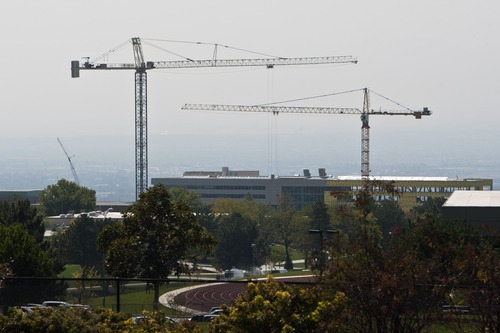 Chris Detrick  |  The Salt Lake Tribune Construction continues on building projects at the University of Utah.
