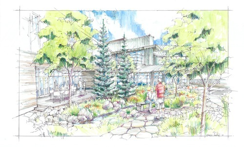 A rendering of the garden at Hope Lodge in Salt Lake City. The American Cancer Society announced Thursday it has raised $10.2 million toward its $18 million capital campaign to build the 42-suite lodge for cancer patients who need to leave their homes for therapy in Salt Lake City.