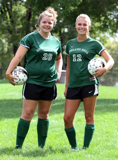 Rick Egan  | The Salt Lake Tribune Rowland Hall soccer players Cari Sanyer, left, and Grace Veghte.