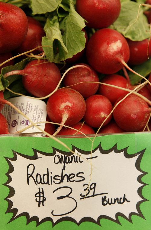 File  |  The Associated Press Organic radishes.