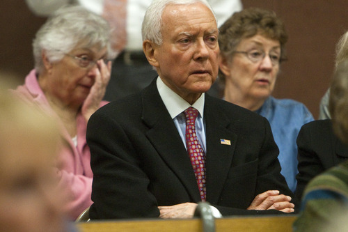 Chris Detrick  |  Tribune file photo This March 15, 2012 file photo, shows U.S. Senator Orrin Hatch attending the Republican caucus at Washington Elementary School, in Salt Lake City. Sen. Orrin Hatch's opponent says the 78-year-old Utah Republican is just too old to serve. In an email to supporters, Democrat Scott Howell warned that if re-elected, Hatch may