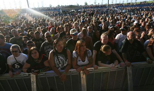 Steve Griffin   The Salt Lake Tribune   Fans listen as Staind plays on the main stage at the Uproar Festival at the Usana Amphitheatre in South Jordan, Utah Wednesday September 19, 2012.