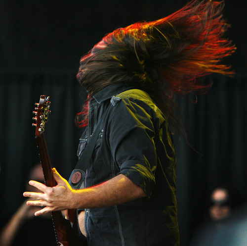 Steve Griffin   The Salt Lake Tribune   Staind guitarist Mike Mushok plays on the main stage at the Uproar Festival at the Usana Amphitheatre in South Jordan, Utah Wednesday September 19, 2012.