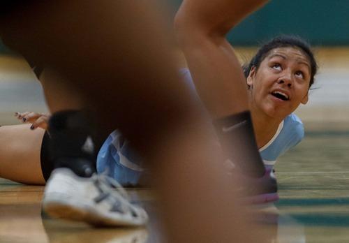 Trent Nelson  |  The Salt Lake Tribune Granger High volleyball player Lile Havili competes in a match vs. Kearns in Kearns, Utah, Thursday, September 13, 2012.